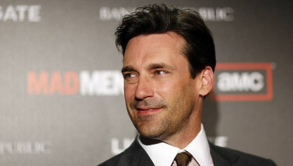 "Hamm poses at the premiere for the fourth season of the television series ""Mad Men"" at the Mann 6 theatre in Hollywood"