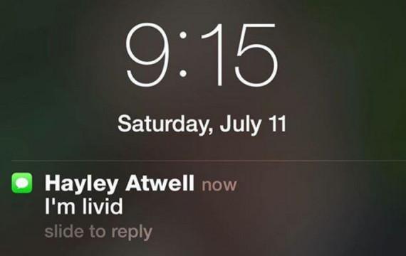 Mensagem de texto enviada por Hayley para Gregg.