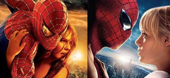 À esqueda, Homem aranha (Tobey Maguire) e MJ (Kirsten Dunst) e à direita Homem Aranha (Andrew Garfield) e Gwen Stacy (Emma Stone)